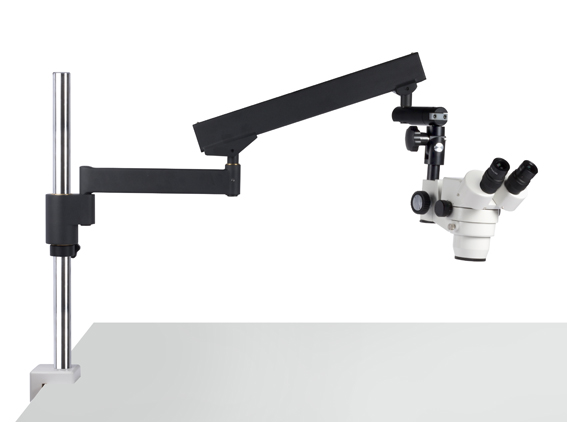Articulated Flex Arm Boom Stand for Stereo Inspection Microscope range with 32 dia pole Table clamp or heavy base plate options
