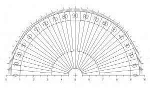 Microscope Half Protractor Eyepiece reticle with 180º protractor, with 10mm scale in 0.5mm divisions