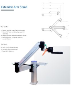 Extended arm stereo zoom microscope stand