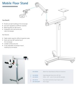 Mobile stereo microscope floor stand for large component inspection & art restoration